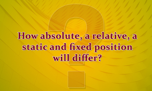 How absolute, a relative, a static and fixed position will differ?