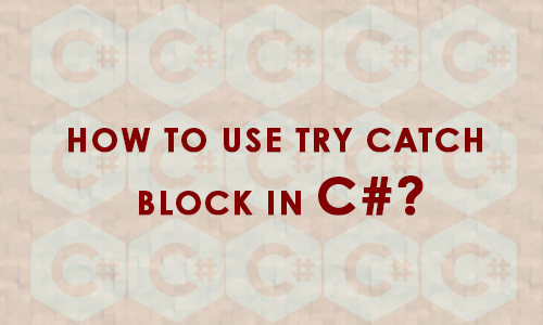 How to use try catch block in c#?