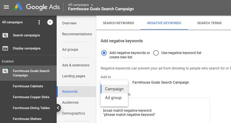 Negative Keywords in Keyword research